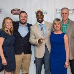 Will & Bill Fallon with wives and Devin McCourty of the New England Patriots